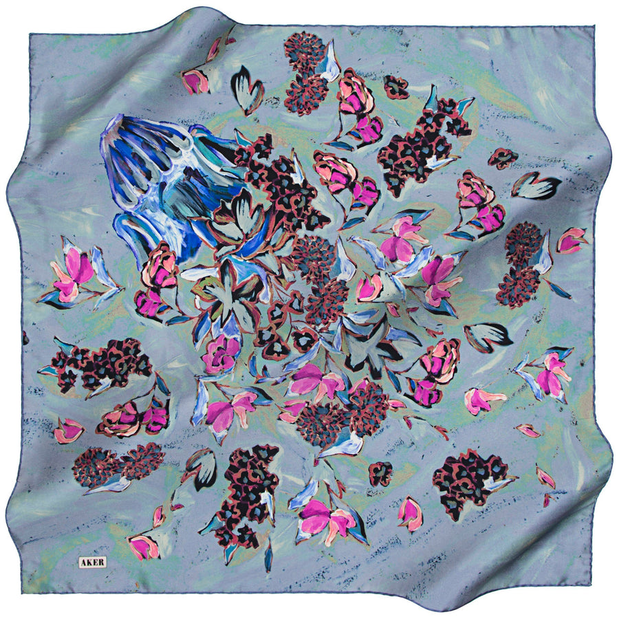 Aker A Luxurious Silk Crepe Satin Scarf
