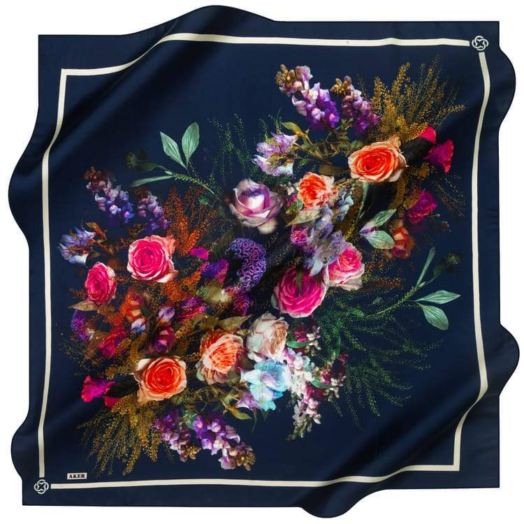 Aker : A Bountiful of Happiness Designer Silk Scarf Aker,Silk Scarves Aker