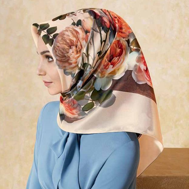 Model wearing Cesme Silk Hijab scarf
