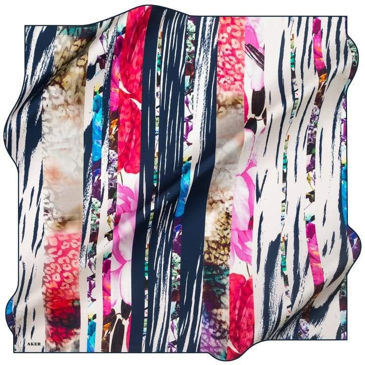 Aker : A Picturesque Collage Turkish Silk Scarf