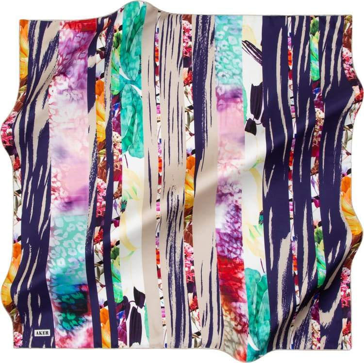 Aker : A Picturesque Collage Modesty Head Wrap Aker,Silk Scarves Aker