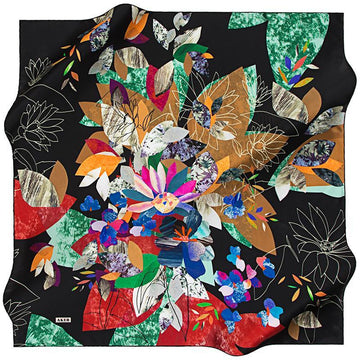 Aker Autumn in Kyoto - Oriental Midnight Aker,Silk Scarves Aker
