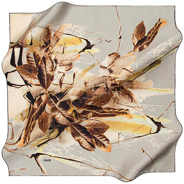 Aker Autumn Leaves - Golden Yellow Aker,Silk Scarves Aker