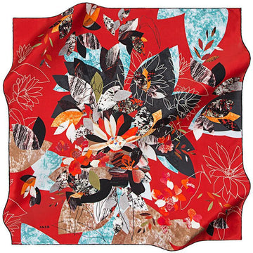 Aker Autumn in Kyoto - Prosperous Red Aker,Silk Scarves Aker