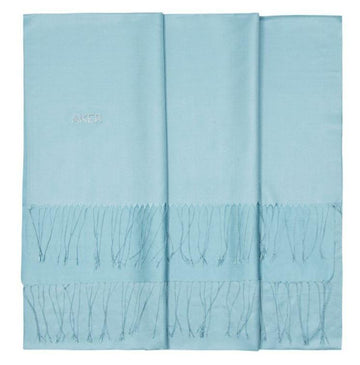 Aker's Light Blue Silk Shawl with Swarovski Stone Silk Shawls Aker