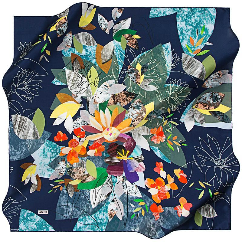 Aker Autumn in Kyoto - Navy Blue Aker,Silk Scarves Aker