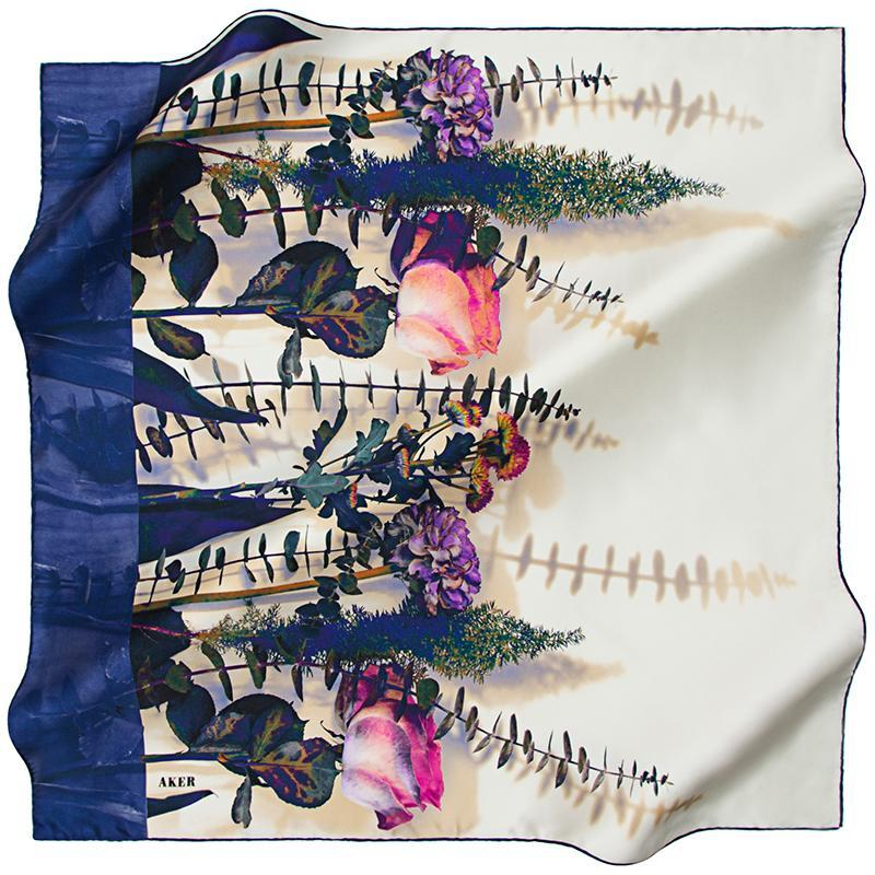 Aker An Ant in the Meadow Silk Twill Scarf - Blue
