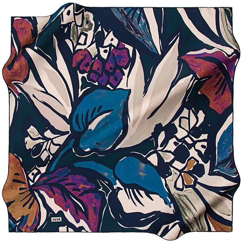Aker A Psychedelic Rainforest Silk Twill Scarf - Purple Dream