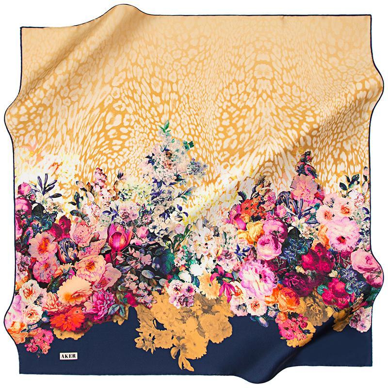 Aker A Glorious Autumn Garden - Blue and Yellow Aker,Silk Scarves Aker