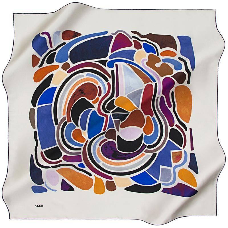 Aker Abstract Arty Farty Silk Scarf - Malt