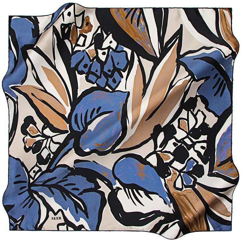 Aker A Psychedelic Rainforest Silk Twill Scarf - Blue Aker,Silk Scarves Aker