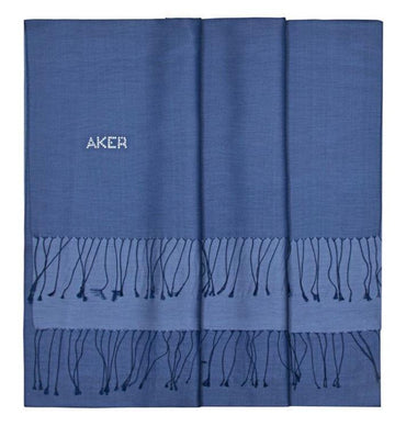Aker Women Bi-Color Silk Shawl - Catalina Blue Silk Shawls Aker