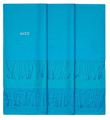 Aker's Turquoise Silk Shawl for Women with Swarovski Stone Silk Shawls Aker