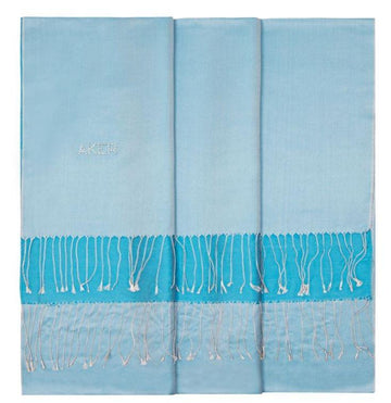 Aker Bi-Color Blue Silk Shawl for Women - Horizon Silk Shawls Aker
