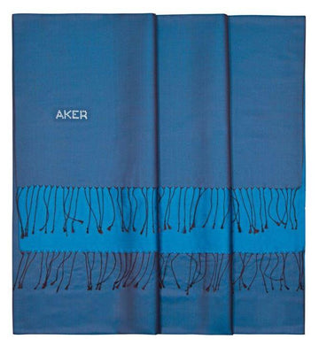 Aker Bi-Color Blue Scarf Shawl in Silk - Endeavour Silk Shawls Aker