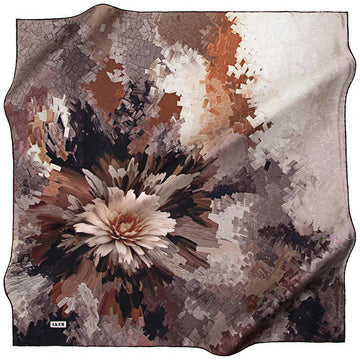 Aker Beautiful Flower Mosaic - Brown Aker,Silk Scarves Aker