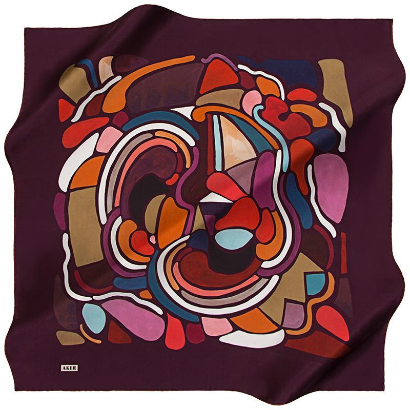 Aker Abstract Arty Farty Silk Scarf - Maroon