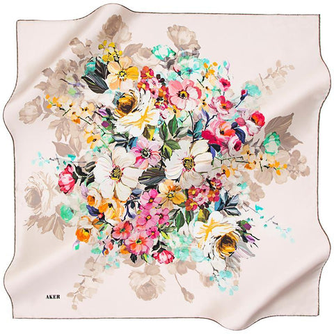 Aker A Wealth of Flower Silk Scarf - Blush Pink