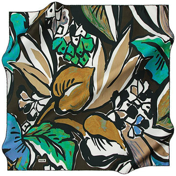 Aker A Psychedelic Rainforest Silk Twill Scarf - Green Aker,Silk Scarves Aker