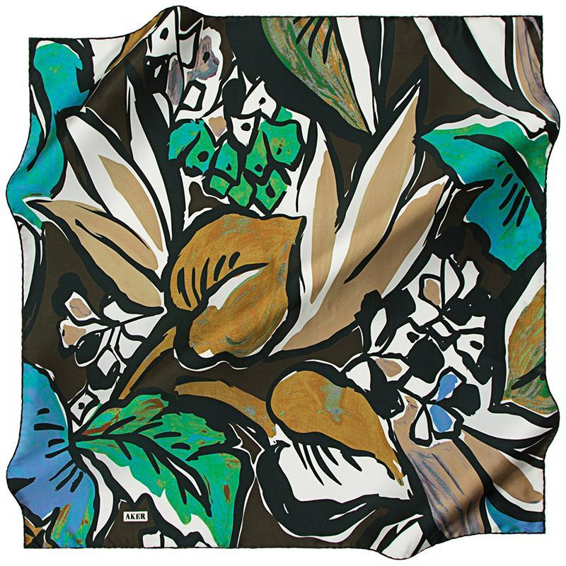 Aker A Psychedelic Rainforest Silk Twill Scarf - Green