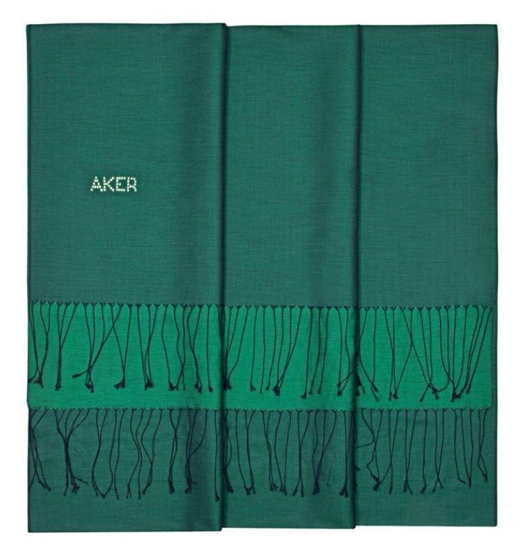 Aker Beautiful Forest Green Womens Shawl with Swarovski Stone