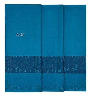 Aker Bi-Color Blue Silk Shawl Wrap - Cerulean Silk Shawls Aker