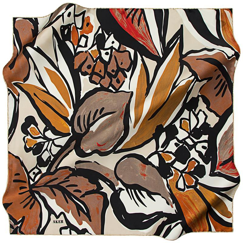 Aker A Psychedelic Rainforest Silk Twill Scarf - Coco