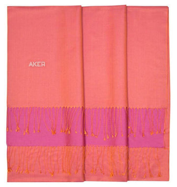 Aker Bi-Color Women Silk Scarf Shawl - Light Coral Silk Shawls Aker