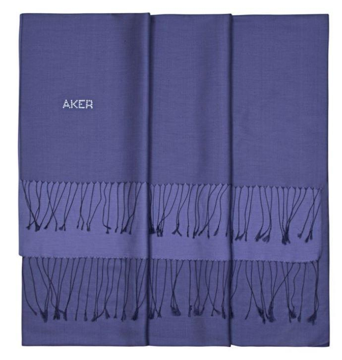 Aker Ladies Bi-Color Silk Shawl Scarf - Corn Flower Blue Silk Shawls Aker
