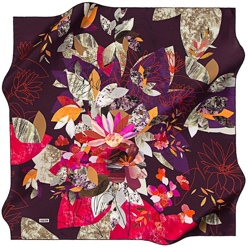 Aker Autumn in Kyoto - Royal Purple Aker,Silk Scarves Aker