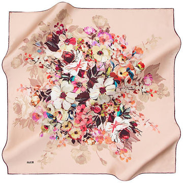 Aker A Wealth of Flower Silk Scarf - Pink Aker,Silk Scarves Aker