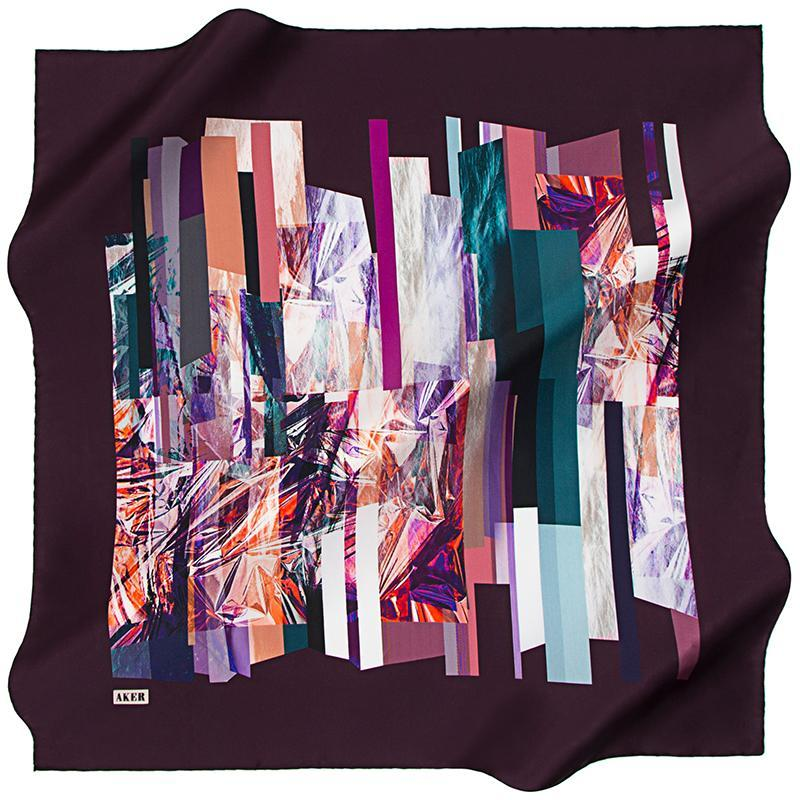 Aker A Reflection of the Past, Present, Future - Purple Aker,Silk Scarves Aker