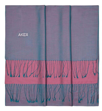 Aker Bi-Color Ladies Large Scarf with Swarovski Stones - Topaz Silk Shawls Aker