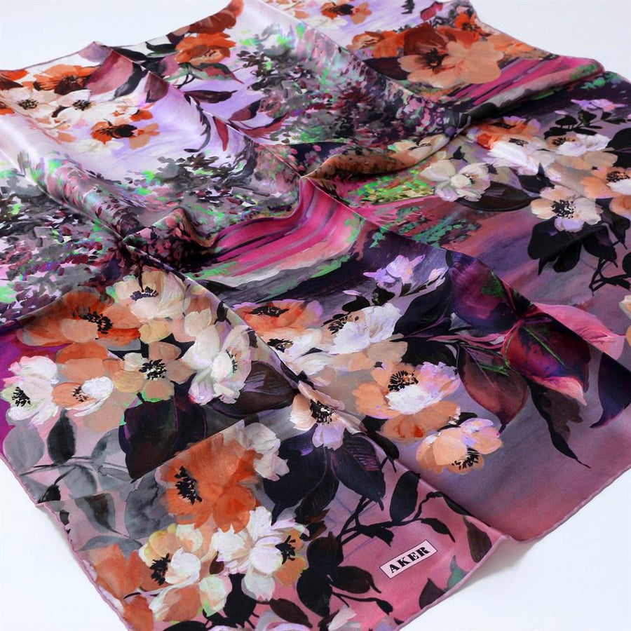 Aker Floral Silk Dress Scarf Brooklyn Silk Hijabs,Aker,Silk Scarves Aker