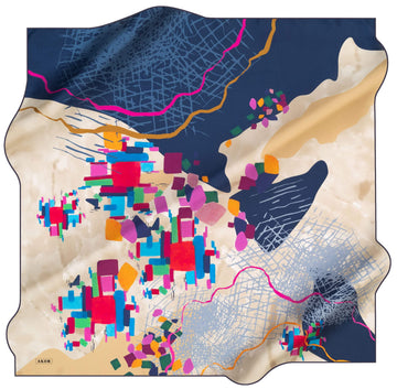 Aker Lego Abstract Silk Scarf No. 23 Silk Hijabs,Aker,Silk Scarves Aker