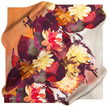 Aker Colourful Floral Silk Scarf Autumn Lily Silk Hijabs,Aker,Silk Scarves Aker
