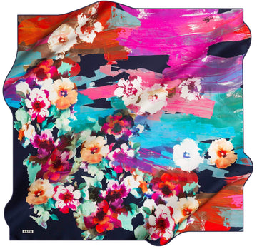 Aker Floral Square Silk Scarf Calla Silk Hijabs,Aker,Silk Scarves Aker