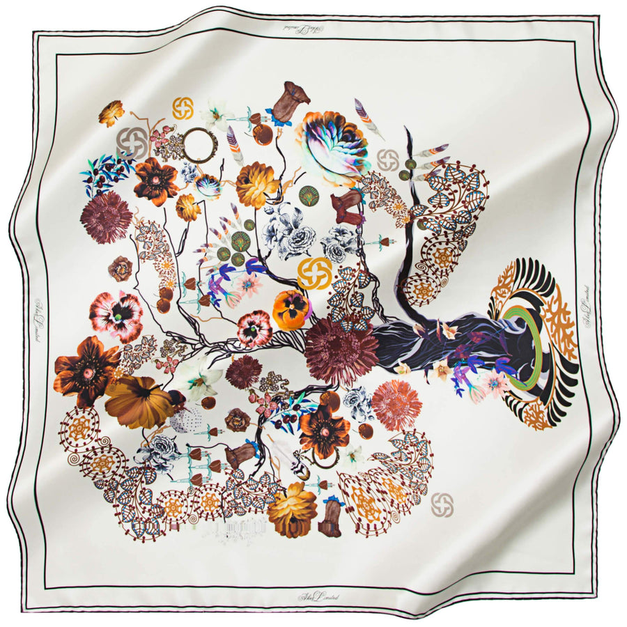Aker Limited Silk Twill Scarf Tree of Life Silk Hijabs,Aker,Silk Scarves Aker
