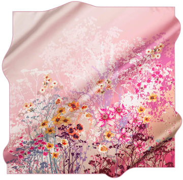 Aker Floral Silk Scarves for Women Wildflowers Silk Hijabs,Aker,Silk Scarves Aker