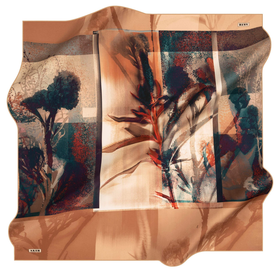 Aker Wild Flower Turkish Silk Scarf No. 61 Silk Hijabs,Aker,Silk Scarves Aker