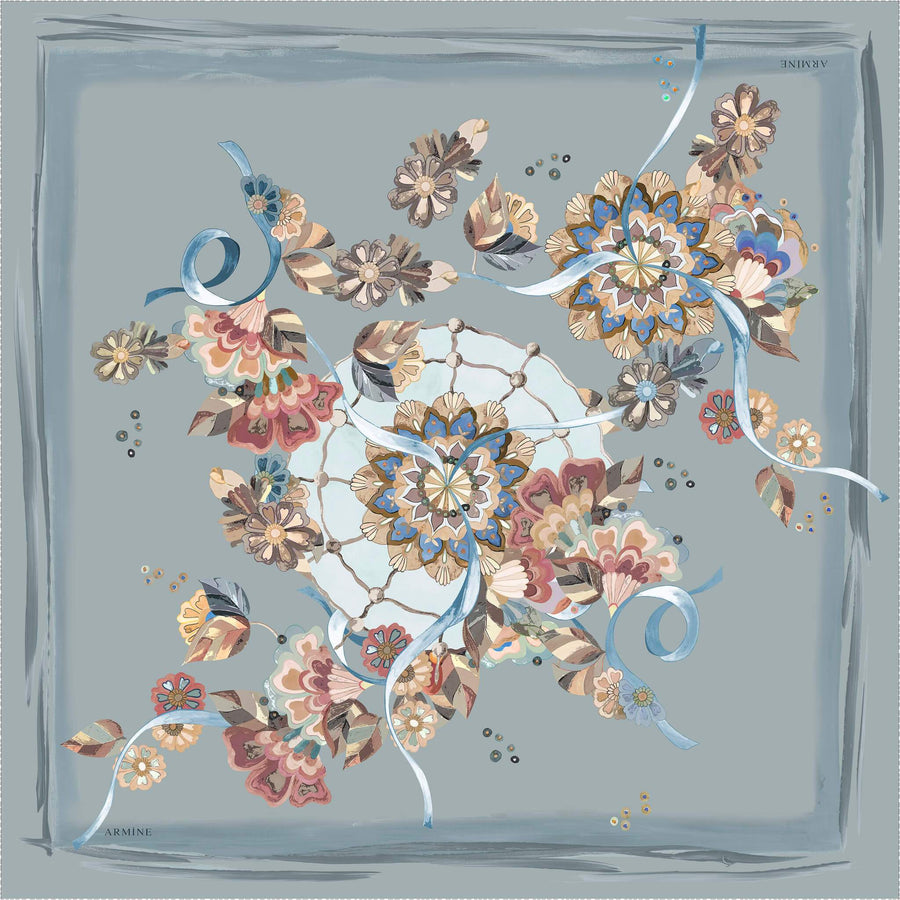Armine Blue Silk Scarf for Ladies Tabitha Silk Hijabs,Armine Armine