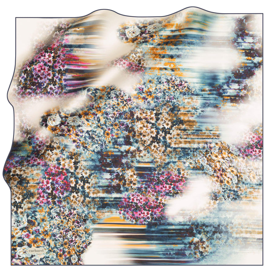 Cacharel Fleur Floral Silk Scarf No. 21 Silk Scarves Cacharel