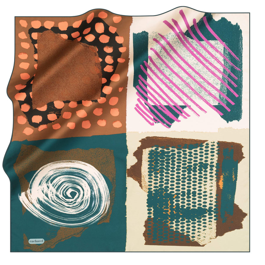 Cacharel Arty Abstract Silk Scarf No. 53 Silk Scarves Cacharel