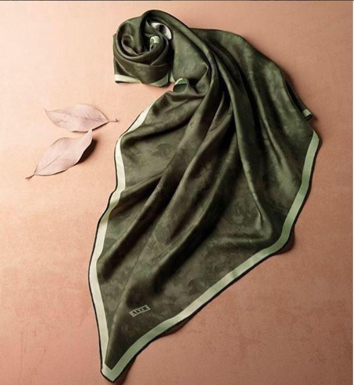 Aker Luxury Basic Silk Scarves Forest Green Silk Hijabs,Aker,Silk Scarves Aker