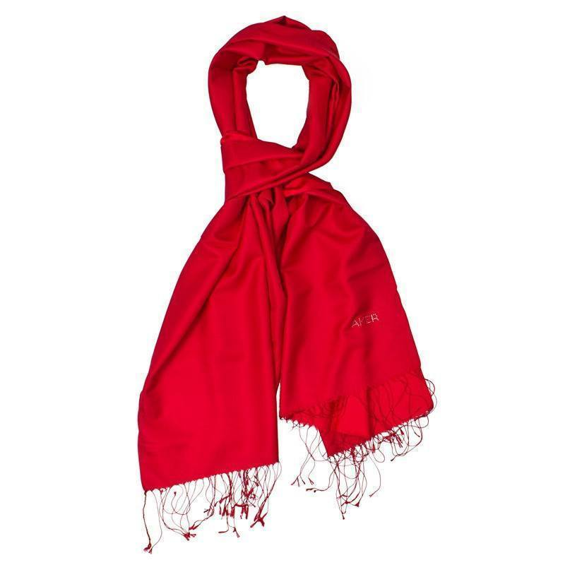 Aker Bi-Color Silk Shawl with Swarovski Stones - Venetian Red Silk Shawls Aker