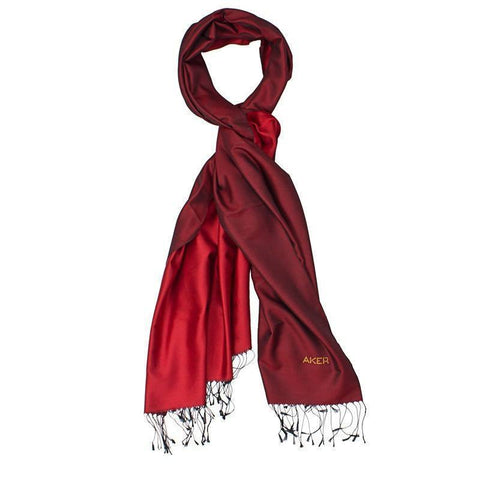 Aker Women's Pure Silk Red Maroon Shawl