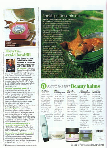 Chamomile Cleansing Balm features in Country Homes & Interiors.