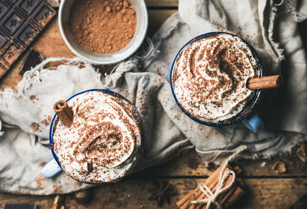 Hot Chocolate with Coconut Cream and Cinnamon stick