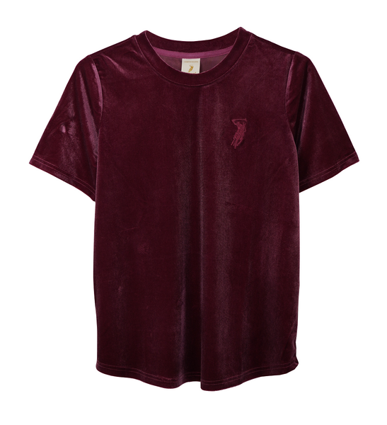 Polo Haus -Ladies Velvet Round Neck Short Sleeves (WINE RED)