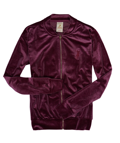 Polo Haus -Ladies Velvet BB Jacket Long Sleeves (WINE RED)